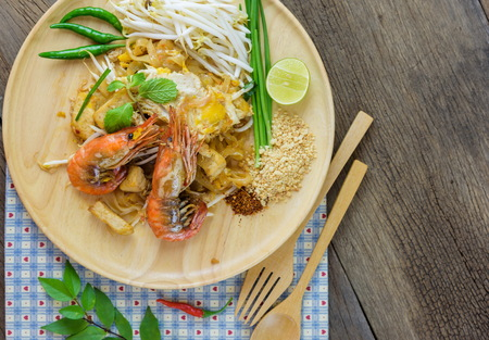 thai noodle: Stir-fried rice noodles Pad Thai is the popular food in Thailand.