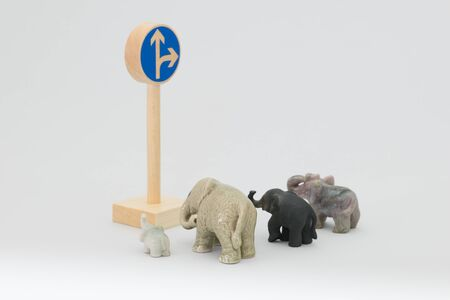deflection: Traffic sign and elephants Stock Photo