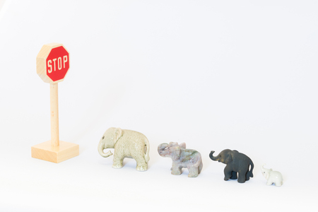 standstill: Traffic sign and elephants Stock Photo