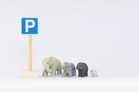 commissure: Traffic sign and elephants Stock Photo