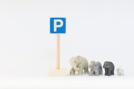 labelling: Traffic sign and elephants Stock Photo