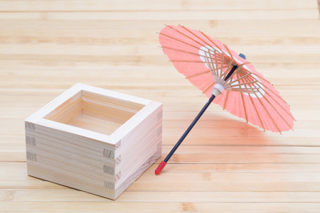 hinoki: Sake and miniature of Japanese umbrella
