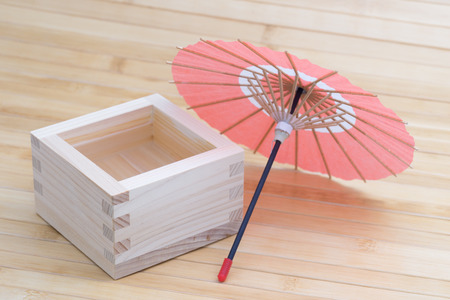 intoxicant: Sake and miniature of Japanese umbrella