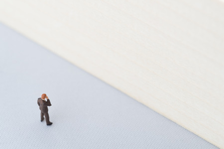 confrontation: Businessman in confrontation with difficulty