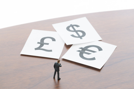 gb pound: The businessman who thinks about exchange Stock Photo