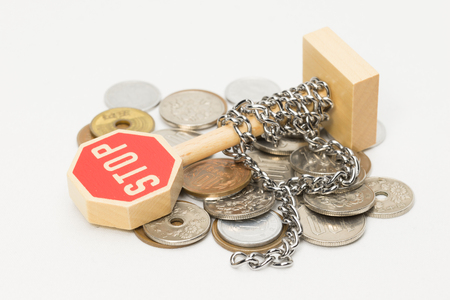 Chains and coins Stock Photo