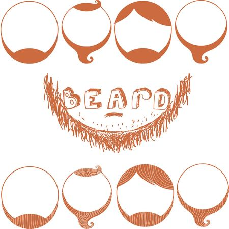 style goatee: Vector brown Set of Beard Silhouettes. Types of Beards.