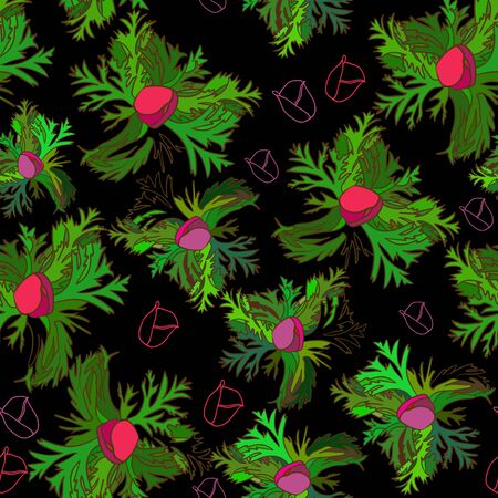 bud: Seamless pattern with bud anemone. Vector background.
