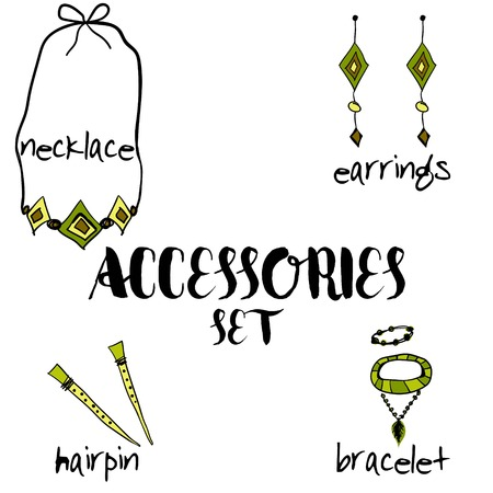 linework: Women boho accessories.  hand drawn. set in boho style