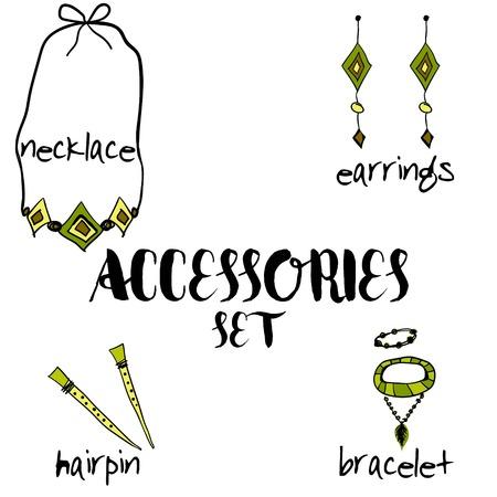 fashion jewelry: Women boho accessories.  hand drawn. set in boho style