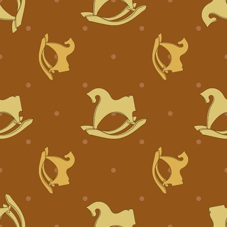 rocking: Seamless pattern postcard with horse rocking toy. Rocking hourse. Vector toy horse. Illustration