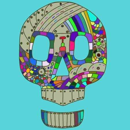 Decorative Skull Head in doodle style. vector illustration.