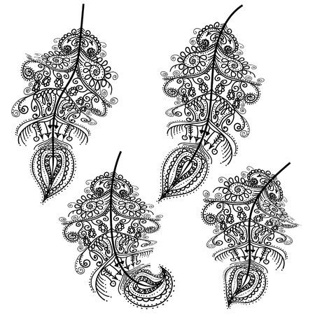 Conjunto de vector decorativo de la pluma, diseño tribal, tatuaje
