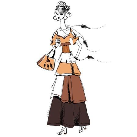 La jeune fille en robe Gypsy. le style Boho. Motif linéaire sur un fond blanc. Pour T-shirts imprimés, cas de téléphone, posters, sac d'impression, tasse impression, filles journal ou le couvercle du bloc-notes Vecteurs