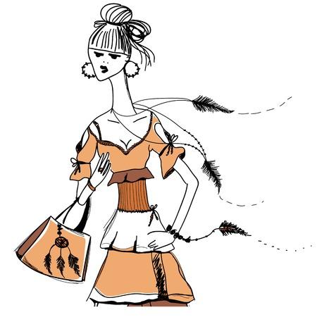La jeune fille en robe Gypsy. le style Boho. Motif linéaire sur un fond blanc. Pour T-shirts imprimés, cas de téléphone, posters, sac d'impression, tasse impression, filles journal ou le couvercle du bloc-notes