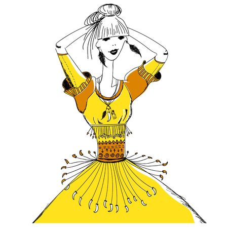 La chica en trajes tribales. Boho y el estilo gitano. patrón lineal sobre un fondo blanco. Para las camisetas de impresión, caja del teléfono, carteles, impresión de bolsas, impresión de la taza, niñas diario o libreta tapa