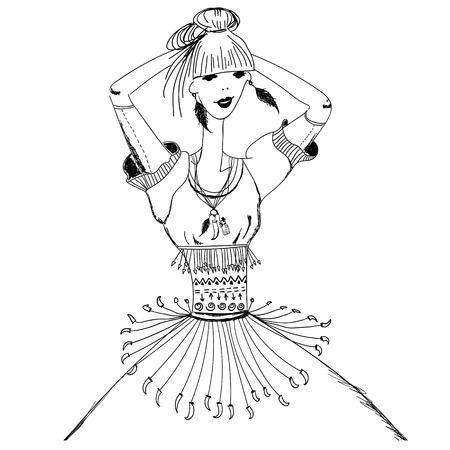 chica boceto en trajes tribales. Boho y el estilo gitano. patrón lineal sobre un fondo blanco. Para las camisetas de impresión, caja del teléfono, carteles, impresión de bolsas, impresión de la taza, niñas diario o libreta tapa Ilustración de vector