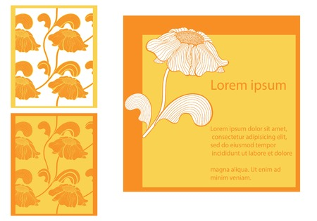 florish: Ccards collection, floral design, vector illustration in yellow colors Illustration
