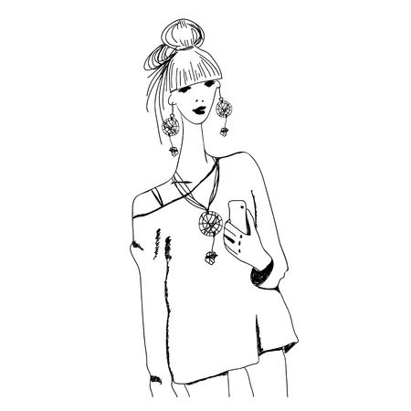 ethno: Sketch of young fashion woman in boho style with phone doing selfie. For t-shirts print, phone case, posters, bag print, cup print or notepad cover.Vector illustration.