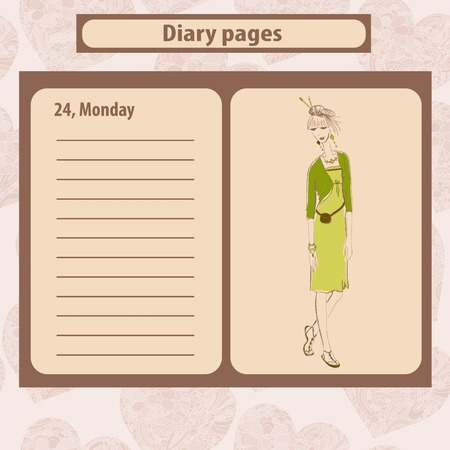 diary: Diary or note pages with illustration of young fashion woman in boho style . Vector illustration.