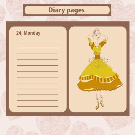 Diary note ou pages avec illustration d'une jeune femme de la mode dans le style boho. Vector illustration.