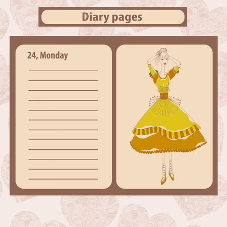 hindus: Diary or note pages with illustration of young fashion woman in boho style . Vector illustration.