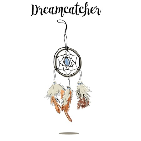 dreamcatcher: Hand-drawn with ink dreamcatcher with feathers. Ethnic illustration, tribal, American Indians traditional symbol. Tribal theme. Colorful dream catcher