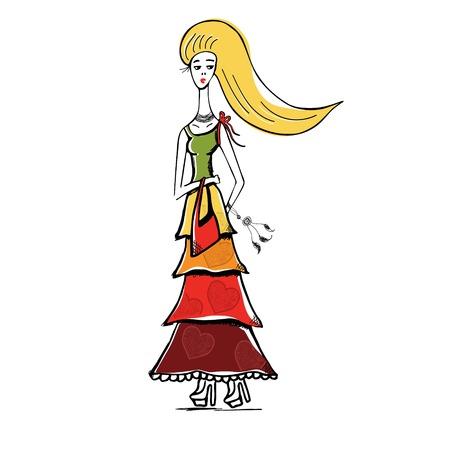La jeune fille blonde en robe gitane avec le sac. le style Boho. Motif linéaire sur un fond blanc. Pour T-shirts imprimés, cas de téléphone, posters, sac d'impression, tasse impression, filles journal ou le couvercle du bloc-notes Vecteurs