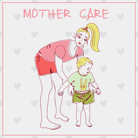 Beautiful mother with her child. Vector illustration for holiday  Day of Mother.