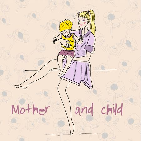 babysitter: Beautiful mother with her child. Vector illustration for holiday  Day of Mother.