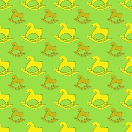 rocking: Seamless pattern postcard with horse rocking toy. Rocking horse. Illustration