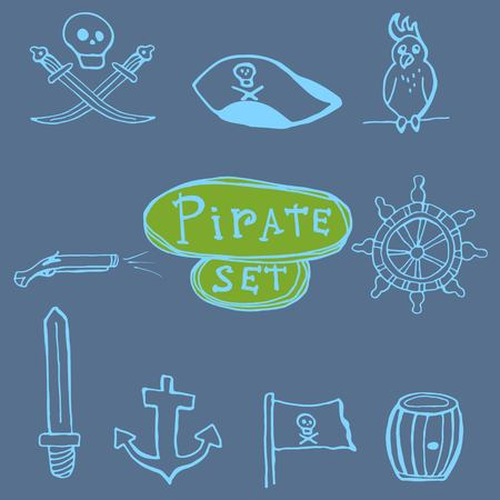 six shooter: Sketch pirates set. Hand drawn icons on blue background