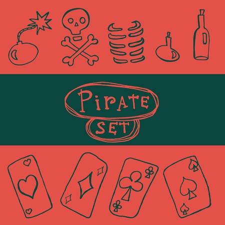 ace of diamonds: Set of pirate icon