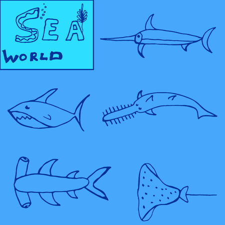 bull shark: Set of icon  fishes isolated on a blue backgrounds