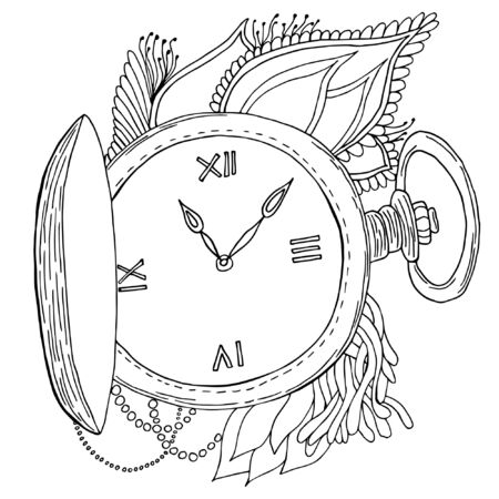 Vintage pocket watch with chain isolated on white background. For tattoo, logo or print. Hand drawn object for adult anti stress coloring page.