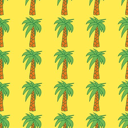 Seamless pattern with palm on yellow background. Hand drawn style. Summer wallpaper with exotic tree.
