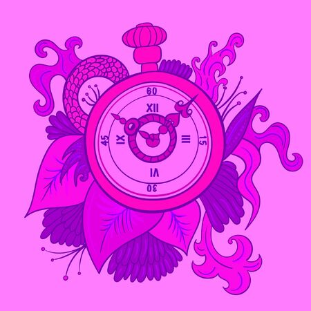 Vintage pocket watch with leaves and snake in pink and violet colors.