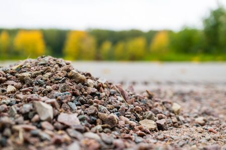 Gravel on the background of natural forest