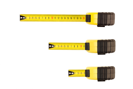 measure: tape measure isolated on white Stock Photo