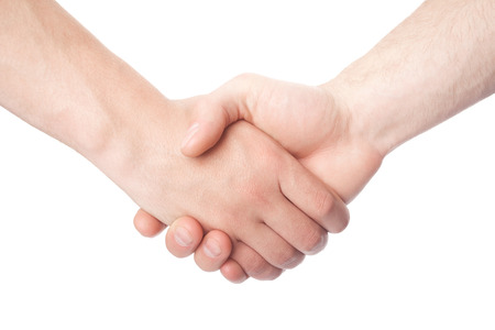 Shaking hands of two male people isolated on white