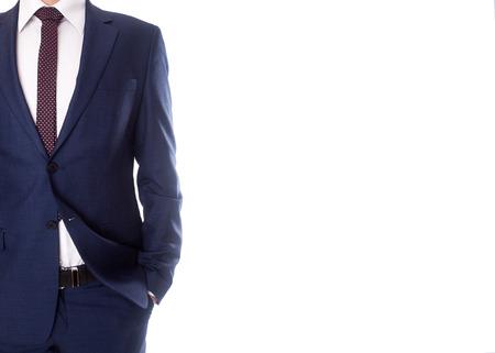 白い背景の上のスーツを着た男