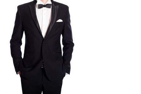 jazzbow: man in black  suit on white background