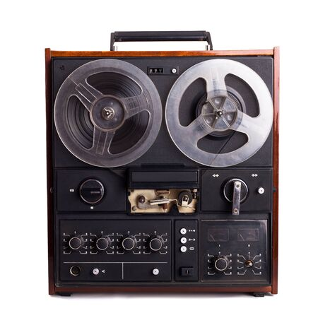 turn dial: vintage reel-to-reel recorder isolated on white Stock Photo
