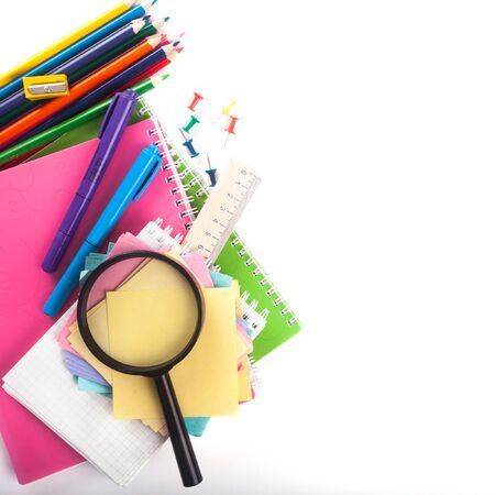 glass paper: Assortment of school items isolated on white background