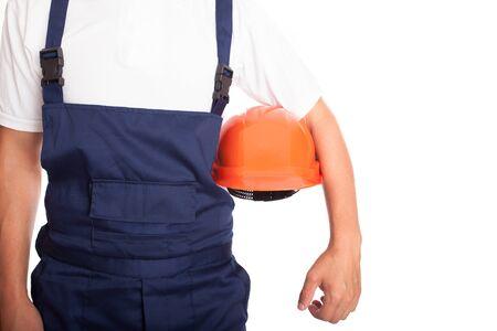 alba�il: Constructor con naranja casco aislado en el fondo blanco