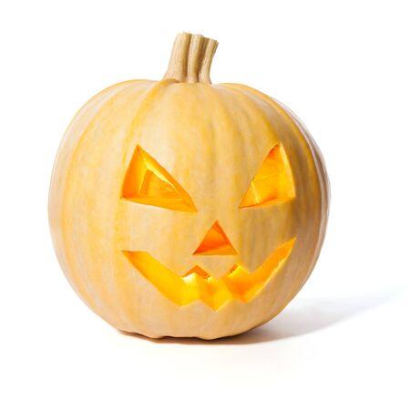 jack o' lantern: Jack o Lantern Halloween pumpkin isolated on white Stock Photo