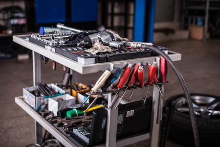 Assortment kit of tools in mechanic garage car service