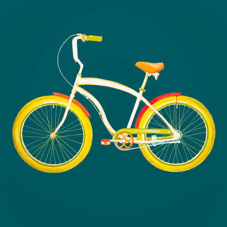 velocipede: Retro Bicycle. illustration of urban hipster bicycle in trendy flat style