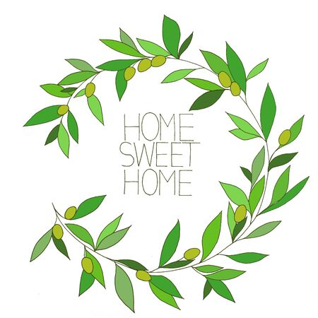 comfort: Home sweet home, hand drawn inspirational floral color graphic, in Olive branch frame Stock Photo