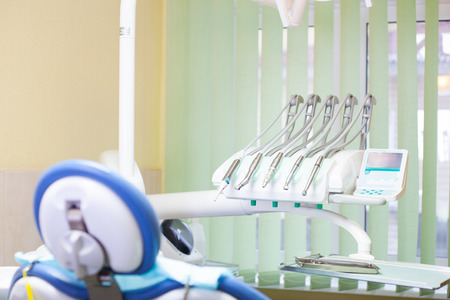 odontology: Different dental instruments and tools in a dentists office